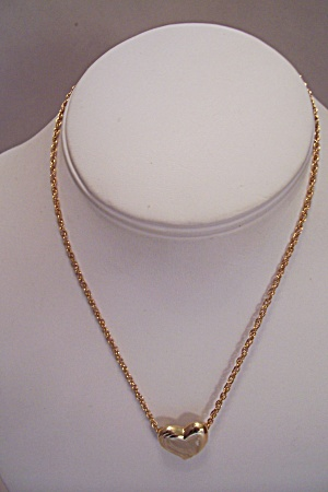 Goldtone Heart Necklace With Fine Link Chain