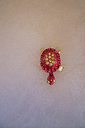Red Enamel & Rhinestone Turtle Pin