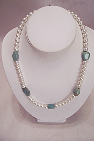 Pearl And Greenish Turquoise Nugget Necklace