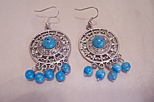 Turquoise Beads & Silvertone French Hook Earrings