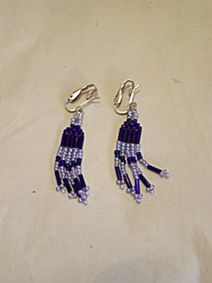 Clip-on Cobalt Blue & Clear Beads Earrings