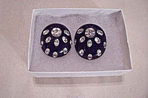 Black Plastic & Clear Rhinestone Clip-on Earrings