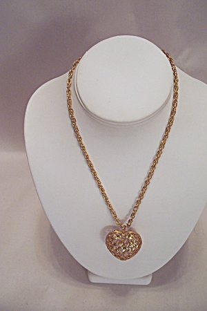 Gold Tone Chain Necklace With Heart & Pearl Drop