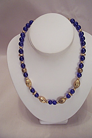 Cobalt Blue And Gold Tone Necklace With Earrings