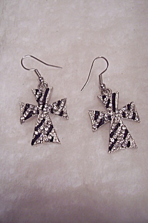 Rhinestone & Enamel Cross French Hook Earrings