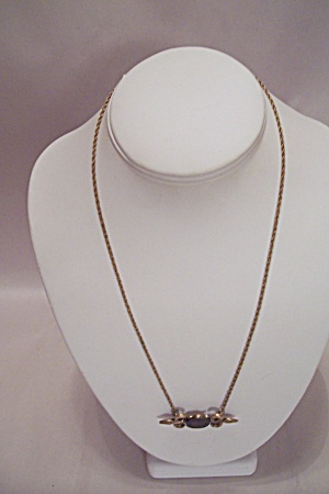 Gold Tone Chain Necklace With Roman Coin Drop