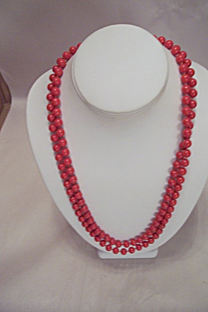 Red Bead Necklace 34 Inches