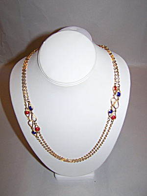 Gold Tone Chain Necklace With Multi-color Beads