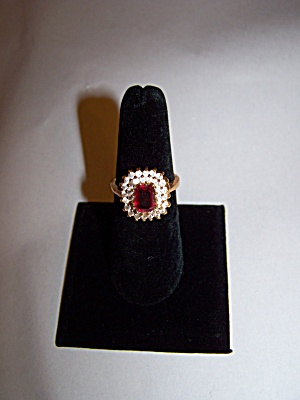 14K Gold Ring With Emerald Cut Ruby Red Stone (Image1)