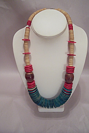 Multi-colored Wooden Disk Necklace
