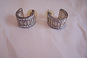 Gold & Silver Tone Rhinestone & Roman Numeral Earrings