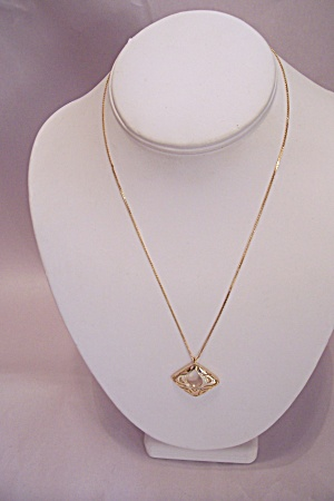 Fine Gold Tone Chain Necklace With Drop