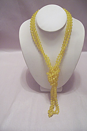 Faceted Yellow Plastic Bead 3-strand Necklace