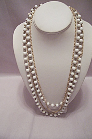 White Glass Bead & Beige Chain Necklace
