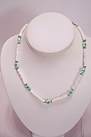 Puka Shell & Green Flower Necklace (Image1)