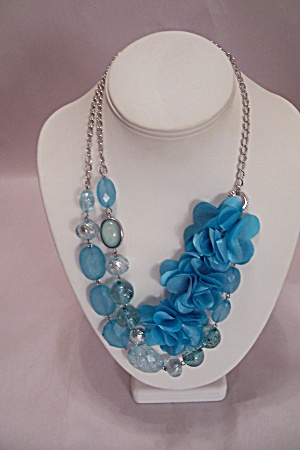 Silvertone Chain Blue Stone & Cloth Flower Necklace