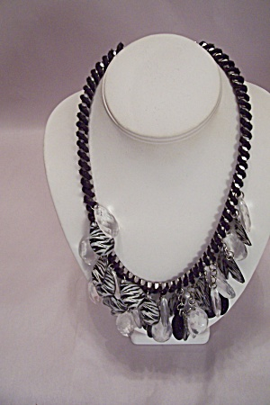 Threaded Silvertone Necklace With Disk Drops & Earrings