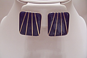Pair Of Blue Enamel & Gold Tone Fashion Stud Earrings