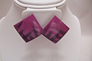 Pair Of Purple & Black Enamel Fashion Earrings