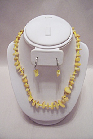 Yellow Mother Of Pearl Nugget Necklace With Earrings