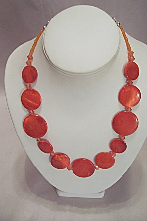 Orange Plastic Disk Necklace