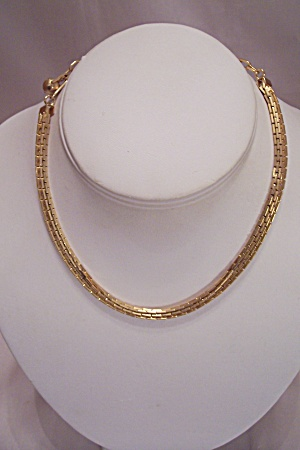 Gold Plated Two Strand Link Necklace