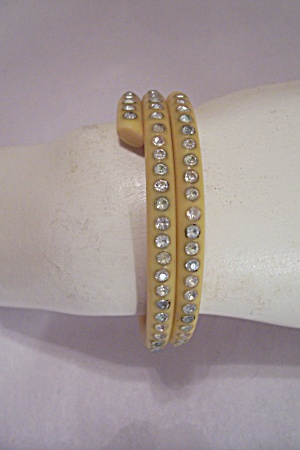 Yellow Celluloid & Rhinestone Bangle Bracelet