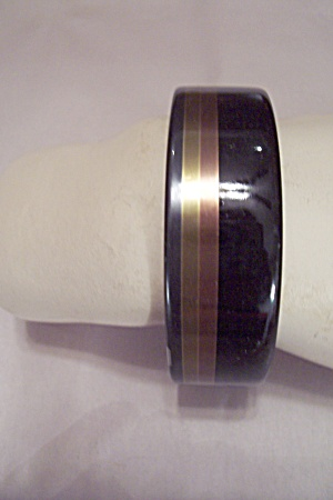 Black, Gold & Copper Colored Bakelite Bangle Bracelet