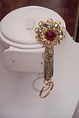 Fashinable Gold Tone & Rhinestone Clip-on Key Chain