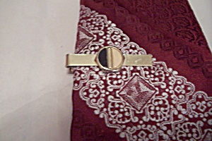 Men's Gold Tone Tie Clip/clasp With Inlay Design