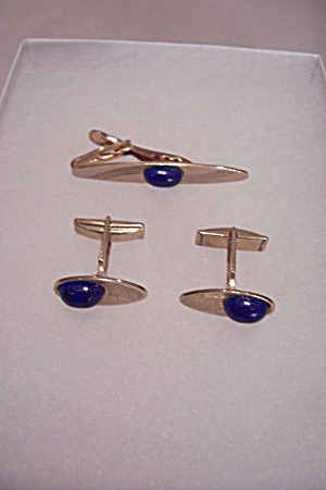 Gold Tone & Cobalt Blue Stone Tie Clip & Cuff Links