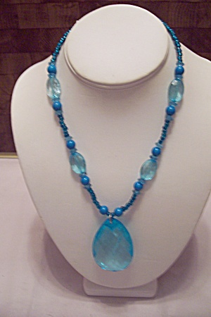 Plastic Blue Bead Necklace With Large Drop