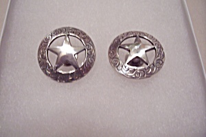 Pair Of Handcrafted Silver Star Conchos