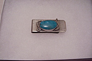 Handcrafted Navajo Turquise Decorated Money Clip