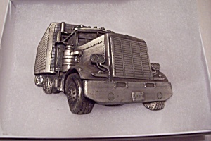 18-wheeler Silver Tone Metal Belt Buckle