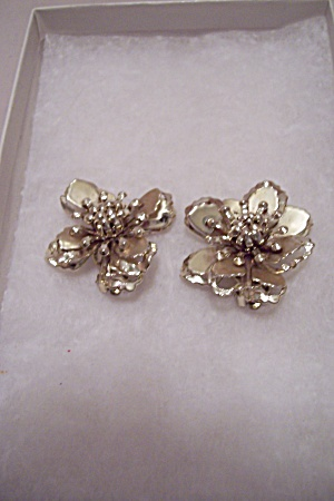 Silver Plastic Floral Clip-on Earrings