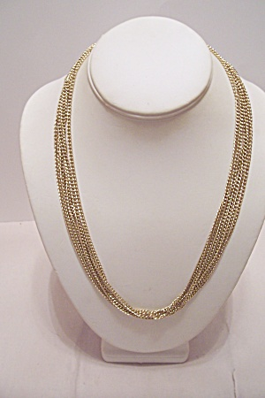 Sarah Coventry 6-strand Gold Plated Chain Necklace