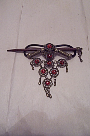 Antiqued Silver & Red/black Stones Hair Ornament