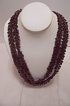Long Woventiny Brown Seed Necklace
