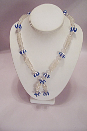 Clear Plastic & Blue/pearl Bead Necklace