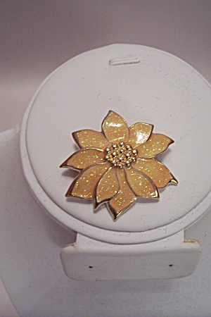 Yellow Enamel & Goldtone Flower Pin/necklace Drop