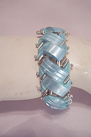 Rhodium & Light Blue Plastic Link Bracelet