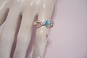 Silver Tone Dolphin & Blue Stone Ring