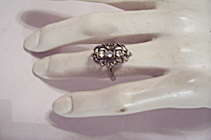 Antiqued Silver Rhinestone Ring