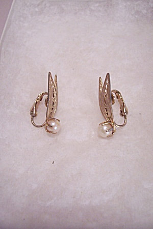 Pair Of Pearl & Goldtone Feather Motif Clip-on Earrings