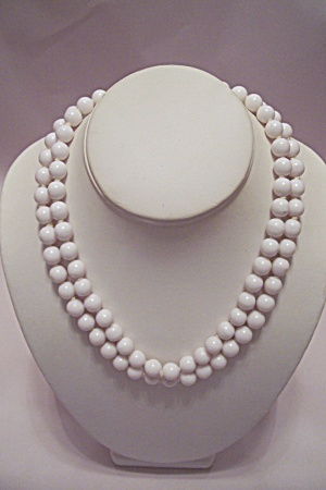 Two-strand White Bead Necklace