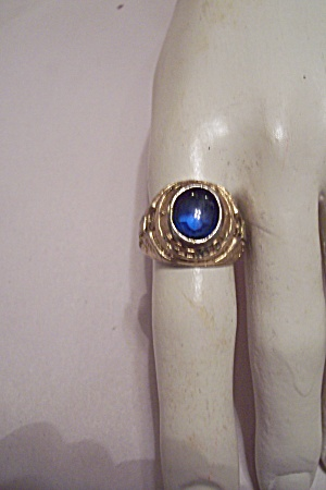 Men's Cobalt Blue Stone American Eagle Ring