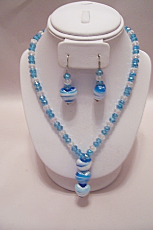 African Blue & White Glass Bead Necklace & Earrings