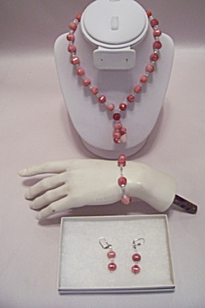 Orange/white Beads & Clear Glass Beads Necklace Set