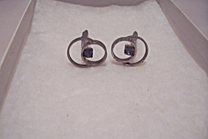 Men's Pair Of Silvertone Cuff Links With Green Stone